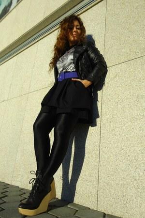 black Zara boots - black leather jacket H&M jacket - black Calzedonia socks