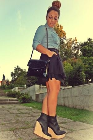 Zara boots - Zara bag - H&M skirt - denim Stradivarius blouse