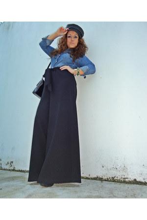 black leather Mango hat - black Zara pants - blue denim H&M blouse