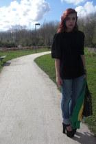 vintage jacket - Bershka jeans - vintage shirt - Parfois bag - zigi girl heels