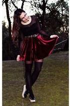 black sheer Bershka old top - crimson velvet Chicwish skirt