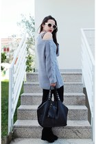 periwinkle open shoulders Sheinside sweater - black Parfois bag