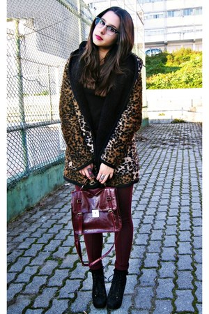 beige leopard Local store coat - black wholesale-dressnet boots