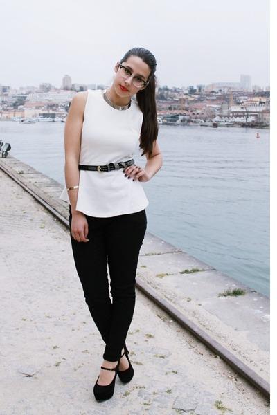 white peplum Zara top - black skinny H&M jeans - gold metallic Claires necklace