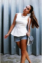 white peplum Zara top - silver metallic Nellycom bag