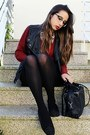 Black-metallic-vj-style-bag-black-crochet-chicwish-shorts-crimson-h-m-jumper