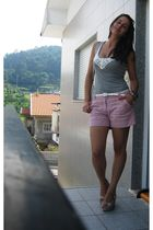 silver Stradivarius top - pink H&M shorts - BLANCO shoes - beige Stradivarius pu
