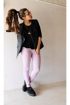 Iridescent necklace - black creepers Sheinside shoes