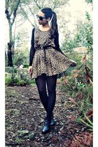 leopard print Love dress - black wedges H&M boots - black studded Primark belt