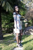 silver Bershka dress - pink BLANCO purse - gray Zara boots
