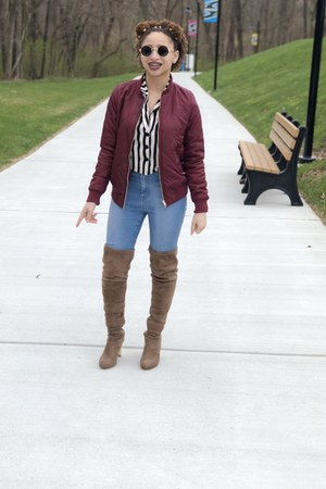quilted Macys jacket - Rue 21 boots - high waisted Fashion Nova jeans