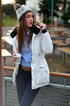 white Louis Vuitton jacket - navy Chanel jeans - blue Gucci shirt