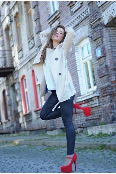 off white Zara coat - blue Chanel jeans - eggshell Zara blouse