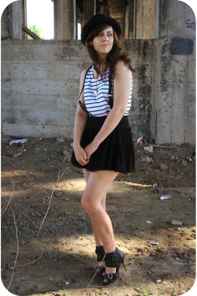 white thrift shirt - black f21 skirt - rue21 shoes
