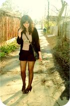 beige thrift coat - beige thrift shirt - black sally jane vintage shorts - black