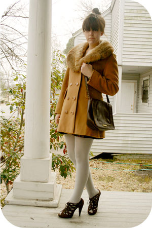 brown f21 shoes - beige flea market coat - Goodwill skirt