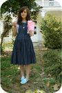 Blue-keds-shoes-blue-estate-sale-dress-pink-goodwill-shirt