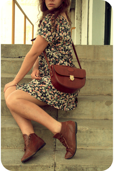 pink Savers dress - brown Etsy shoes - brown purse