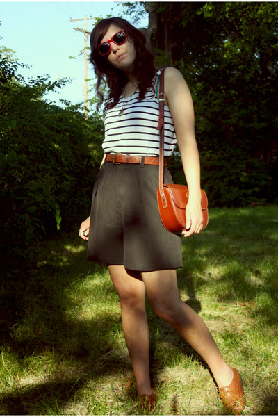 white thrifted shirt - black thrift shorts - brown thrift shoes - brown little o