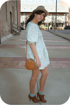 blue thrift dress - beige estate sale hat - blue Target socks - brown f21 shoes