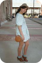 blue thrift dress - beige estate sale hat - blue Target socks - brown f21 shoes
