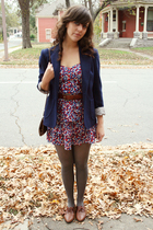 Oscar de la Renta blazer - Forever 21 dress - belt - Walmart tights - shoes
