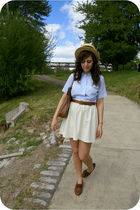 beige Boater hat - brown oxfords shoes - white vintage skirt