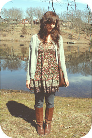 brown f21 dress - blue f21 jeans - brown flea market boots - beige Bakers neckla