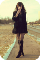 thrift blazer - black vintage slip shirt - f21 skirt - black Tabio tights - blac