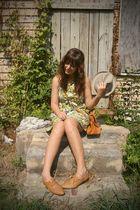 orange Shop Dixi bag - orange thrift shoes - gold Timely Vintage dress