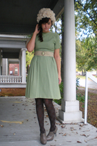 dress - hat - tights - Forever 21 shoes - belt