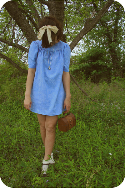 blue savers dress - thrift purse - Target socks