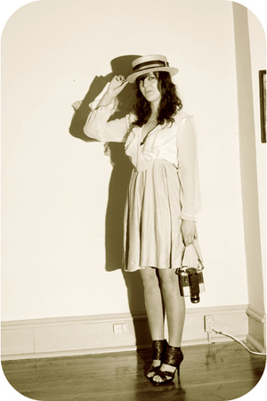 beige estate sale hat - beige thrift dress - black Rue 21 shoes
