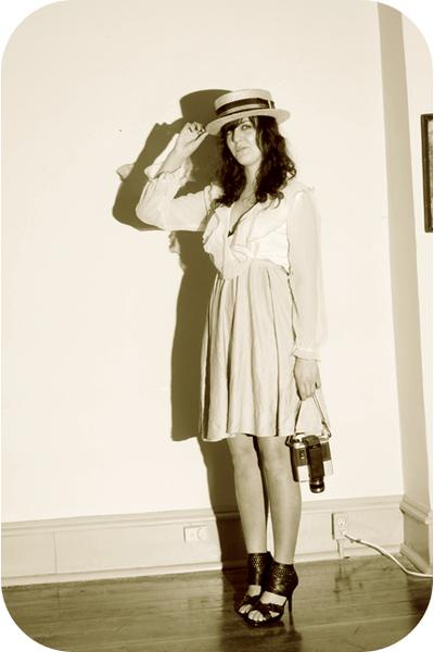 beige estate sale hat - beige thrift dress - black Rue 21 shoes