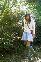blue Goodwill skirt - white thrift cardigan - silver f21 socks - brown Goodwill