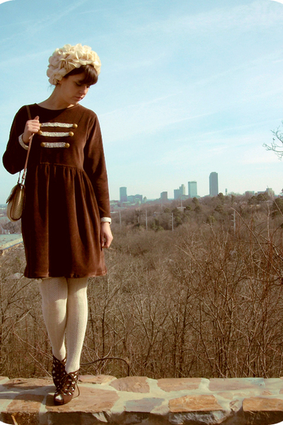 beige thrift hat - brown diy vivetta knock off dress - beige Aerie tights - brow