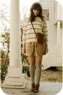 White-savers-sweater-beige-savers-skirt-white-thrift-hat-brown-f21-shoes-