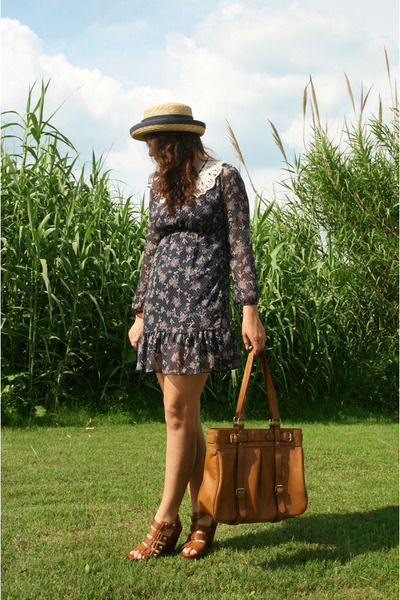 blue Shop Dixi dress - brown Cynthia Vincent shoes - brown thrift purse - beige