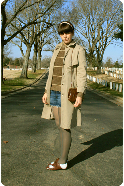 beige savers coat - brown boyfriends sweater - blue Target shorts - brown Ebay s