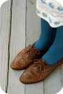 White-estate-sale-dress-blue-walmart-tights-brown-goodwill-shoes