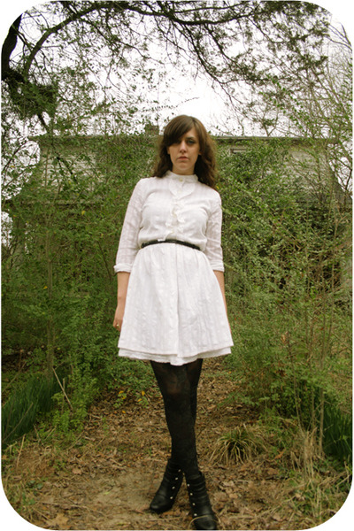 white thrift dress - black HUE tights - black modcloth boots - black Goodwill co