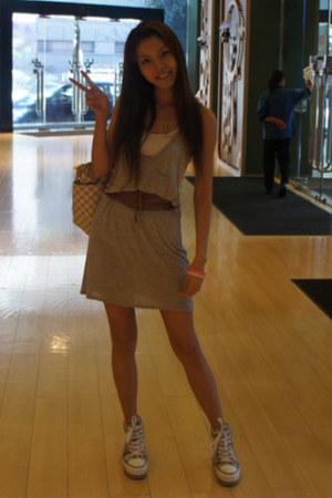shoes - grey Alexander Wang dress - Louis Vuitton bag - belt
