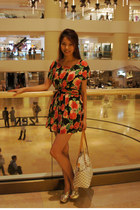 floral dress dress - ivory Louis Vuitton bag - Zara heels