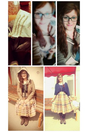 blue Second hand fair skirt - yellow skirt - nude Stradivarius jacket