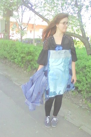 aquamarine handmade by me dress - blue Jeans long vintage coat