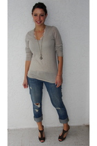 beige martin and osa sweater - blue Jcrew jeans - gray volatile shoes - white Sl