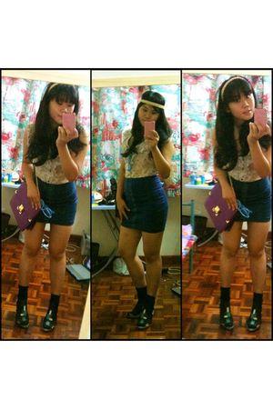 yellow blouse - blue skirt - black socks - purple purse - blue glasses - green b