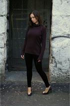 black H&M sweater - black Talula leggings - black Steve Madden shoes - black any