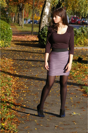 black H&M shirt - periwinkle H&M skirt - black H&M tights - black sigerson morri