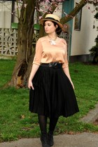 black Aldo boots - light yellow Talula hat - black Zara skirt - black White Hous